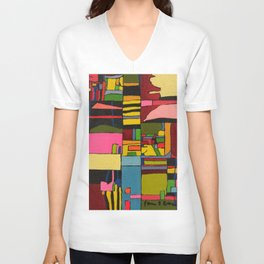 Colors in Collision 2 - Geometric Abstract in Blue Yellow Pink and Green Unisex V-Neck