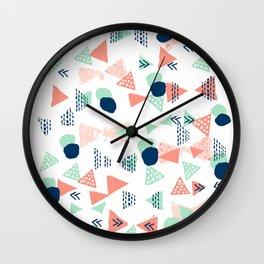 Navy painted shapes polka dots minimal basic decor mint peach and blue pattern Wall Clock