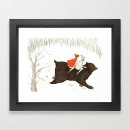 Bear's Escape in the Snow Framed Art Print
