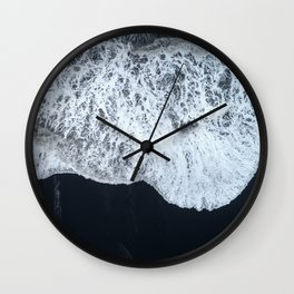 White Waters and Black Sand Aerial Coastal Landscape Photograph Wall Clock