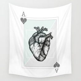 Ace Of Hearts - Mint Wall Tapestry