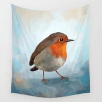 robin Wall Tapestries featuring Robin by Freeminds