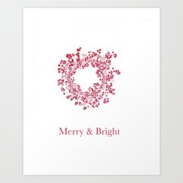 Red Merry & Bright Christmas Berry Wreath Watercolour Art Print