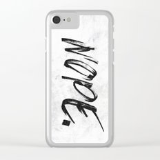 NOPE. - Marble Black and White Quote Words Clear iPhone Case