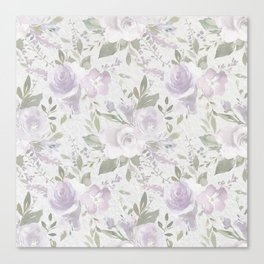 Modern vintage pastel lilac green watercolor floral Canvas Print