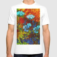 Hello blue poppies! White MEDIUM Mens Fitted Tee