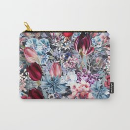 Beautiful vector flower pattern in vintage style with tulips, bells, cornflowers, roses, lilac Carry-All Pouch