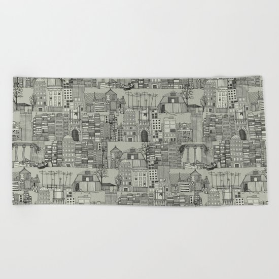 dystopian toile mono Beach Towel