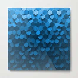 Blue hexagon abstract pattern Metal Print
