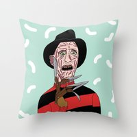 freddy krueger Throw Pillows featuring Freddy Krueger by Elena Éper