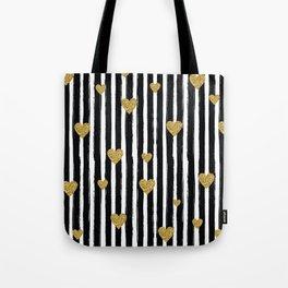 Gold Glitter Hearts Black and White Stripes Tote Bag