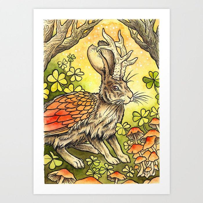 Winged Jackalope in Summer Plumage Art Print