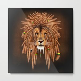 Dreadlock Lion Metal Print