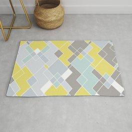 Yellow & Gray Geometric Pattern Rug