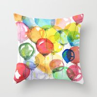 balloons Throw Pillows featuring balloons by Katja Main