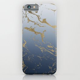 Modern grey navy blue ombre gold marble pattern iPhone Case