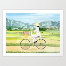 Cycling in Vietnam Art Print