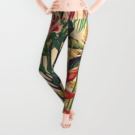 Vintage Tropical Flora (green) Leggings