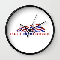 bastille Wall Clocks featuring Bastille Day by DFLC Prints