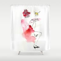 reading Shower Curtains featuring Reading by Hyegallery