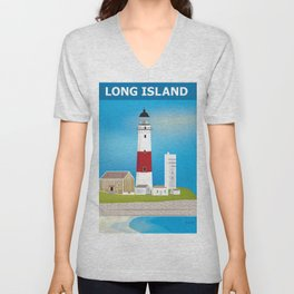 Long Island, New York - Skyline Illustration by Loose Petals Unisex V-Neck
