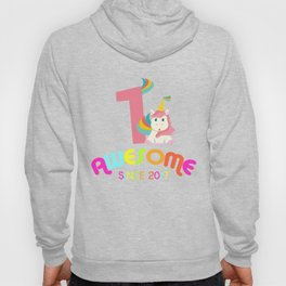 Awesome Since 2017 Unicorn 1st Birthdays Anniversaries Hoody