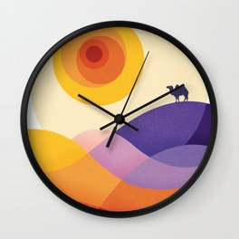 Sun, Desert, Waves of Sand and Camel Wall Clock