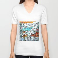ski V-neck T-shirts featuring Penguin Ski by Phil Fung