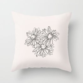 Daisy flowers line drawing - Nina I Throw Pillow