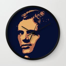 Jack London - portrait navy and yellow orange Wall Clock