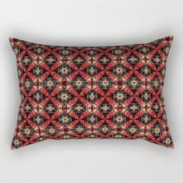 Textured Black Red and Gold Abstract Multi-Tile Print Rectangular Pillow