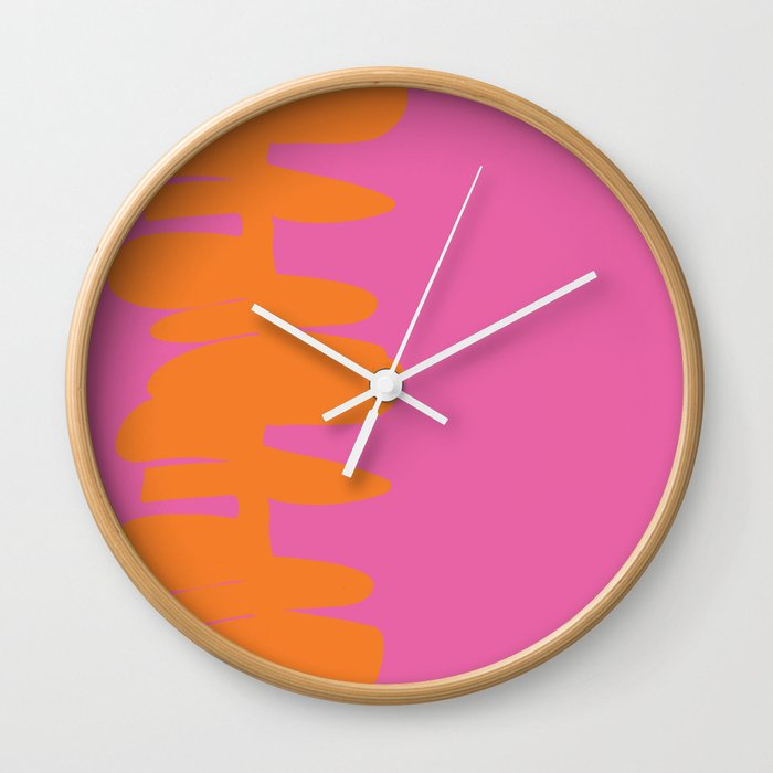 Stacked Up Pink & Orange Wall Clock