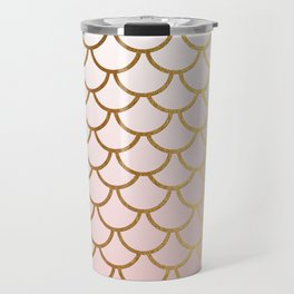 Pink Gradient And Gold Foil MermaidScales - Mermaid Scales Travel Mug