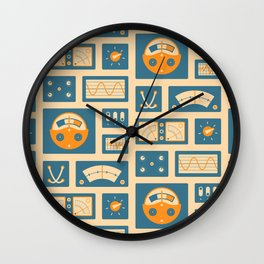 Mission Control - Peach & Blue Wall Clock