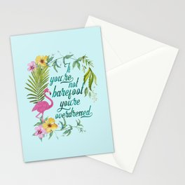 If You Are Not Barefoot You Are Overdresses Exotic Flower Flamingo Summer Art Stationery Cards