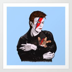 David & The cat Art Print