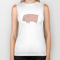pig Biker Tanks featuring Pig by ITEMLAB