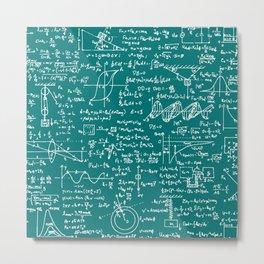 Physics Equations // Teal Metal Print