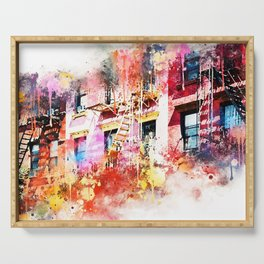 NYC Watercolor Collection - New York Facades Serving Tray
