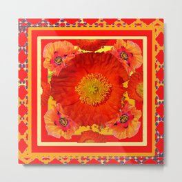 RED & YELLOW-RED POPPY FLOWERS GARDEN Metal Print