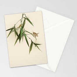 A grasshopper on bamboo leaves Stationery Cards
