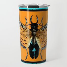 CONTEMPORARY  BUTTERFLY GREY STAG-HORNED BEETLES Travel Mug