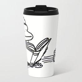 Ape on Rug Enjoys Big Book Travel Mug