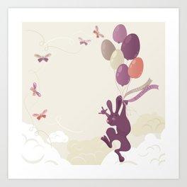 Flying Birthday Bunny (Purple) Art Print