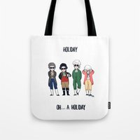 vampire weekend Tote Bags featuring Vampire Weekend Holiday by Knifeson