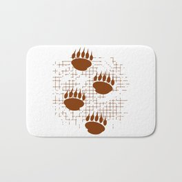 Bear Cub Paw Prints On Distressed Background Bath Mat