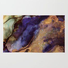 Purple and Gold Abstract Rug