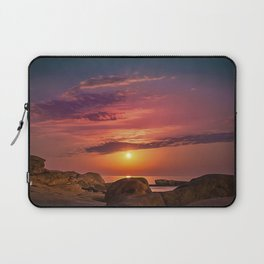 "Magical landscape with clouds and the moon going up in the sky in ""La Costa Brava, Spain"" Laptop Sleeve"