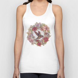 Hummingbird In Flowery Garden Wreath Unisex Tank Top
