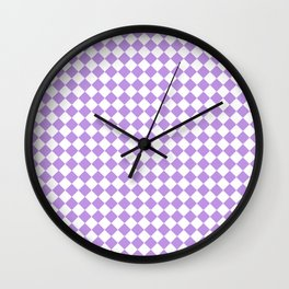 Small Diamonds - White and Light Violet Wall Clock